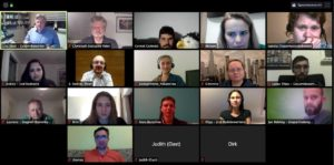 zoom-Bildschirm der Teilnehmer am 13. April