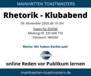 Einladung Klubabend 9. November