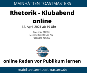 Rhetorik-Training am 12. April 2021