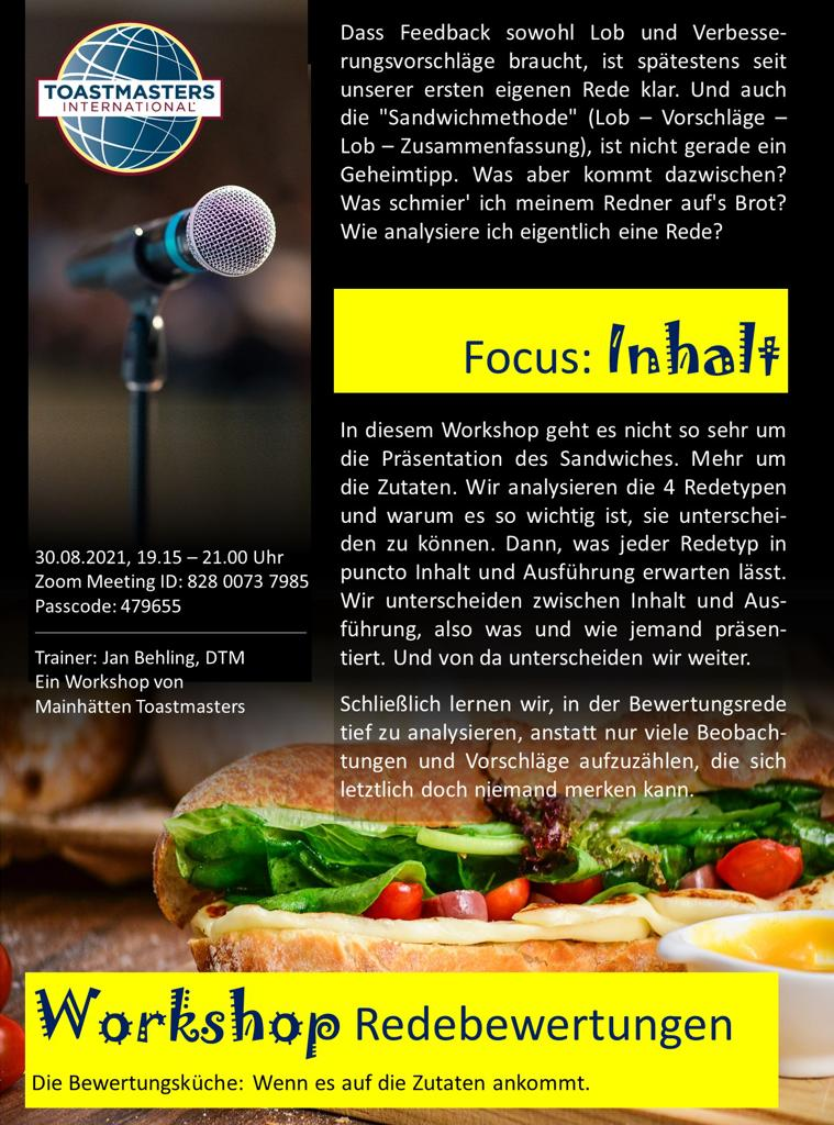 Flyer zum Redebewertungen-Workshop